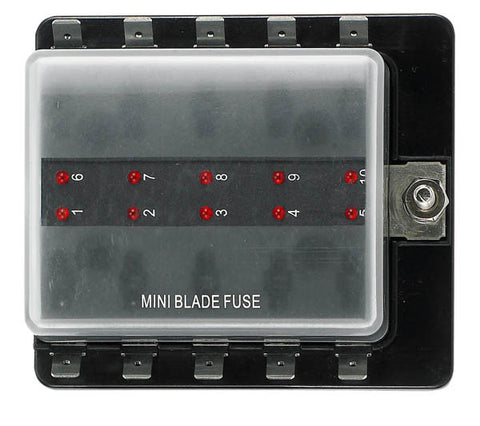 12 Volt Atm Style Fuse Blocks W/ Led Indicator 10 Gang - Boaterbits