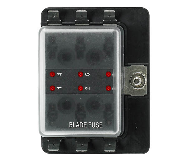 12 Volt Ato Style Fuse Blocks W/ Led Indicator 6 Gang - Boaterbits
