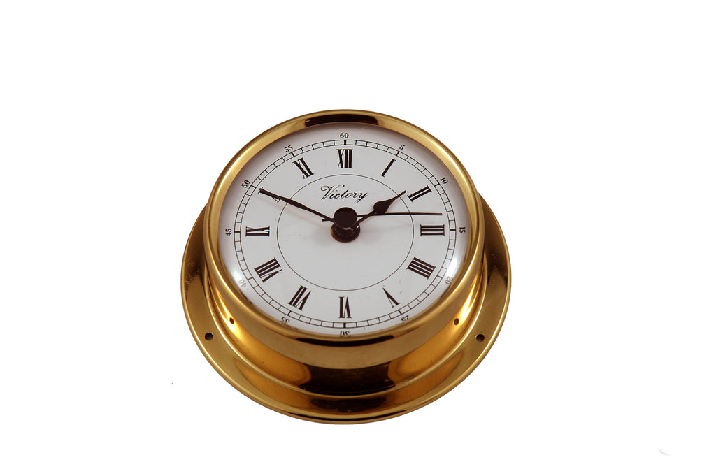 "Ships Clock Solid Brass 2-1/2"" - Boaterbits"