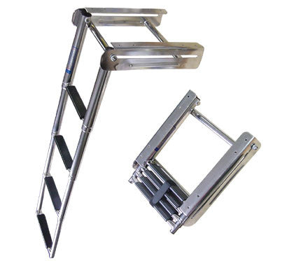 Below Swim Grid Mounted Boat Stainless Boarding Ladder - Boaterbits