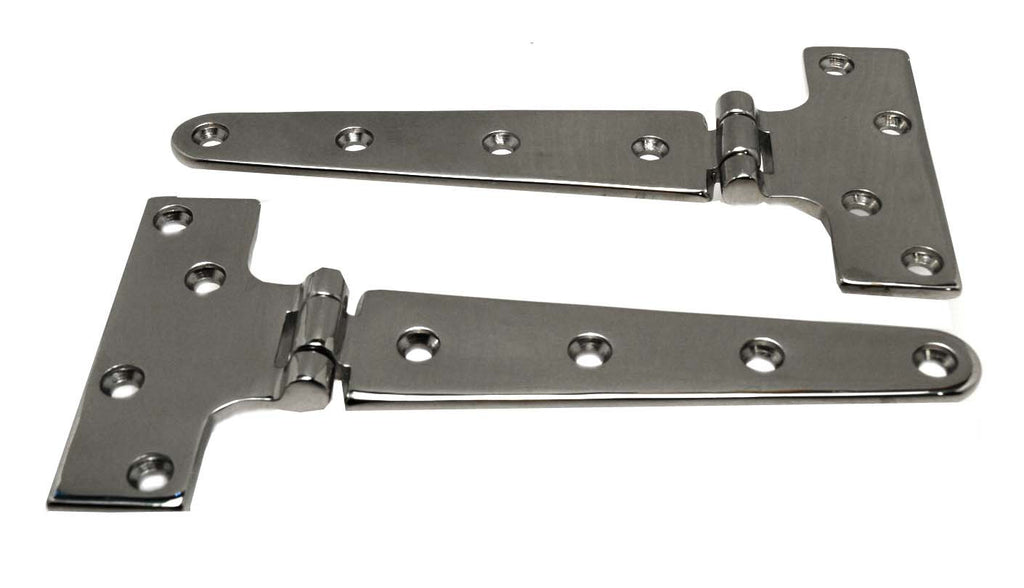 "Stainless Steel Boat Hatch Tee Hinge 6"" Pair - Boaterbits"