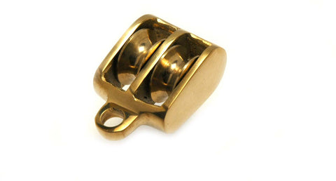 Polished Brass Sailboat Block Pulley Double Sheave - Boaterbits