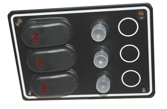 3 Circuit Waterproof Marine Breaker Panel Black - Boaterbits