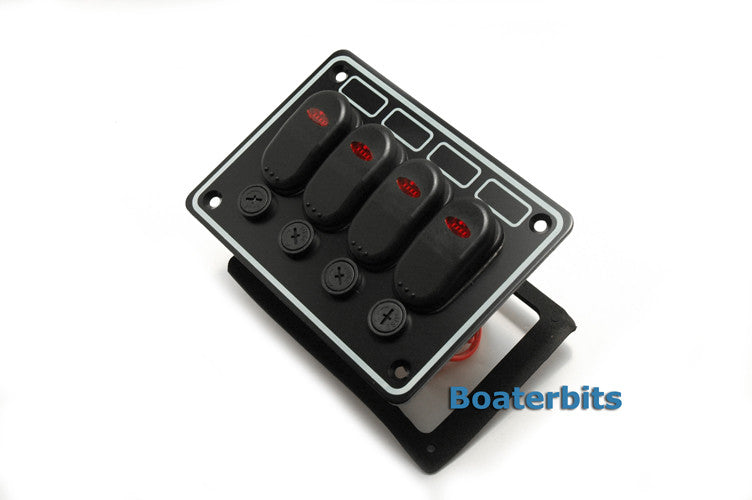 4 Gang Waterproof Marine Switch Panel W / Horn Switch - Boaterbits