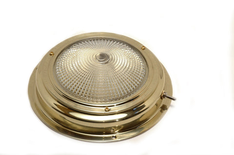"Polished Brass Halogen Dome Light 6-1/2"" - Boaterbits"
