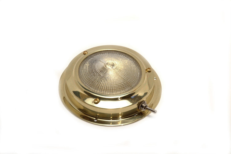 Polished Brass Halogen Dome Light - Boaterbits