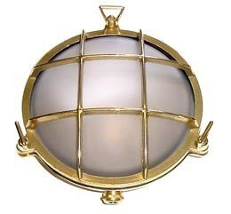 Boat Vapour Proof Brass Light Fixture 6-1/8 - Boaterbits