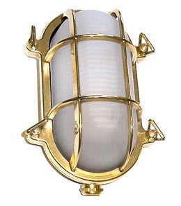 "Boat Vapour Proof Brass Light Fixture 9"" - Boaterbits"