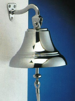 "Solid Chromed Brass Ships Bell 4"" Made In Italy - Boaterbits"