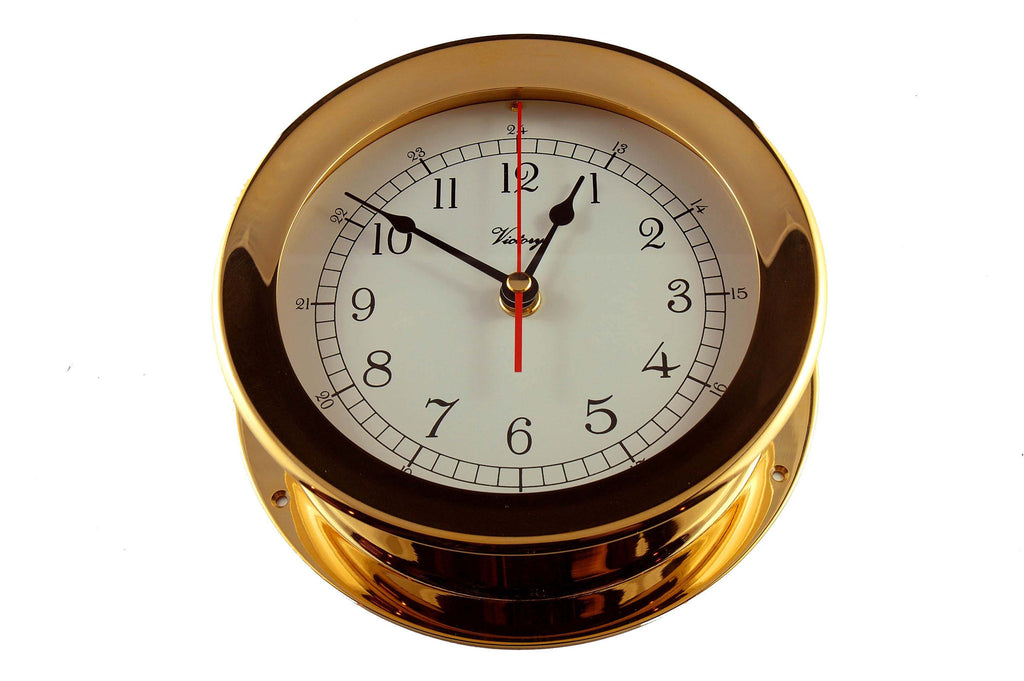 "Ships Clock Solid Brass 7"" Victory 615 - Boaterbits"