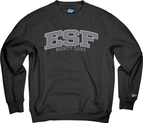 Charcoal gray crew neck sweatshirt with large letters ESF