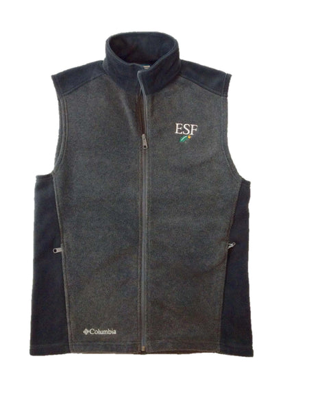 Charcoal gray Columbia fleece vest with black side inserts and ESF logo on left chest