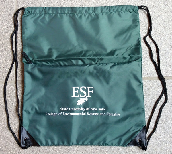 Dark green drawstring bag with college name in white print