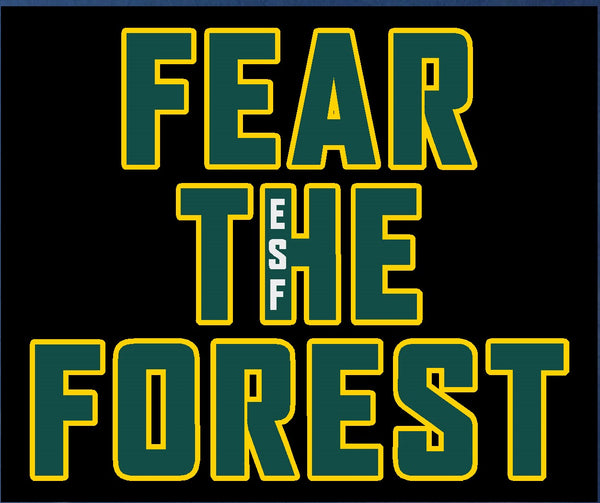 Black decal with Fear the Forest letters and a small ESF within