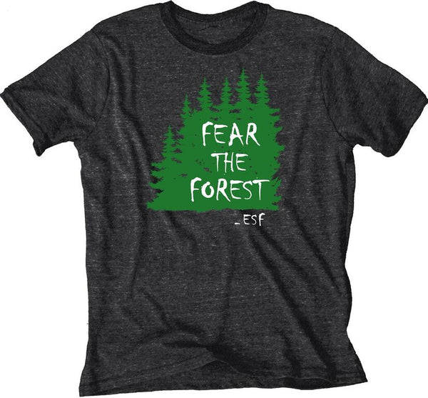 Black t-shirt with green trees and Fear the Forest in white