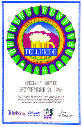 1996 Telluride Blues & Brews Festival Poster
