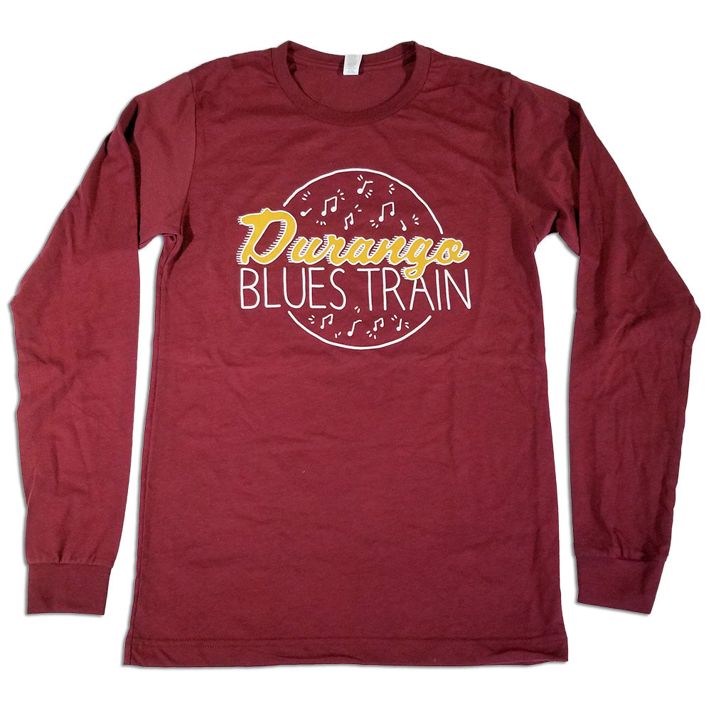 Durango Blues Train - Long Sleeve Circle T-Shirt (Cardinal)