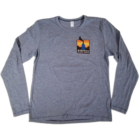 Durango Blues Train - Long Sleeve Patch T-Shirt (Gray)