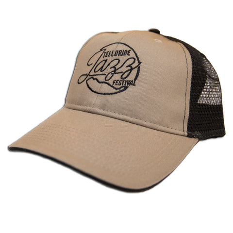 Telluride Jazz Festival - Tan and Black Snap-back Trucker Hat