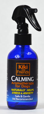 Relax your dog, help reduce stress, anxiety, fear of noises and build confidence with Calming organic & wild-crafted topical spray. Safe, gentle & vet approved solution  blended to calm & to create a deeper connection between you & your dog. Select EO's & flower essences make Kiki & Friends Aromatics a great choice.