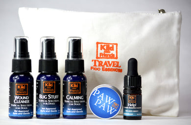 Kiki's Travel Kit in a compact pouch is essential equipment for anyone who likes to journey with their dog. It includes Calming, Bug Stuff & Wound Cleaner sprays in 1oz plastic bottles, Paw Paw Herbal Salve for pad protection & a flower essence blend called Help! for acute anxiety. Safe & Gentle/Veterinarian approved.