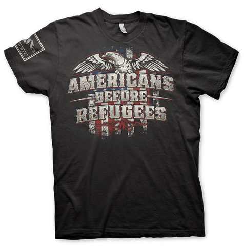 PRE-ORDER Americans Before Refugees T-Shirt (Front and Back)