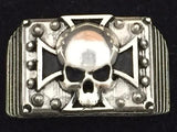 SPIKED IRON CROSS SKULL AIR COOLED ORIGINAL RING