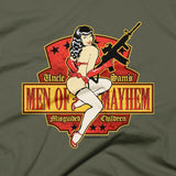 t-shirt men of mayhem olive closeup