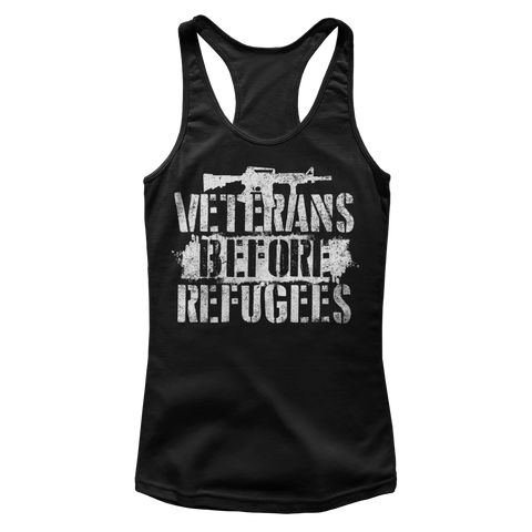 WOMEN'S VETERANS BEFORE REFUGEES TANK TOP (FRONT AND BACK)