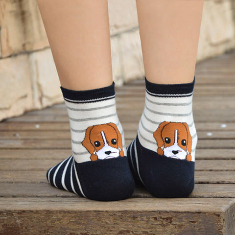 1 Pair Hot Sale Winter Autumn Warm Women Lady Girl 3D Dog Animals Style Funny Puppy Print Cotton Short Ankle Socks