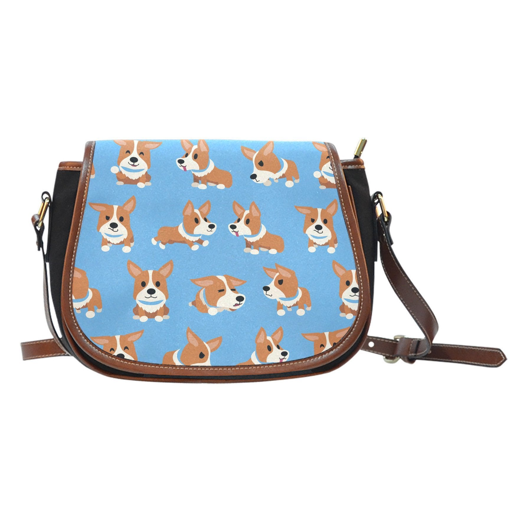 Corgis Canvas Leather Saddle Bag
