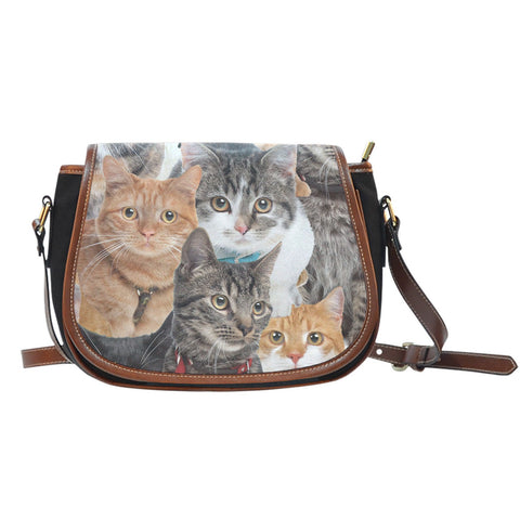 Cats Canvas Leather Saddle Bag