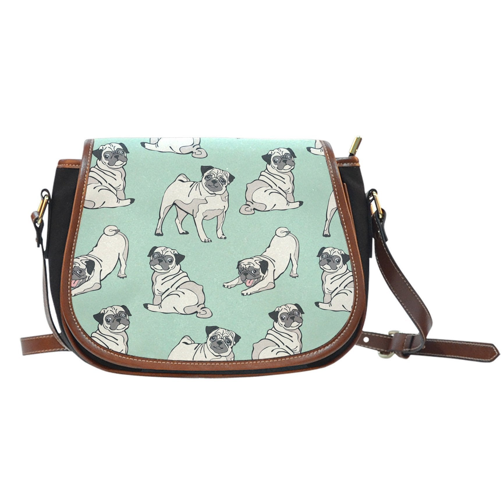 Pugs Canvas Leather Saddle Bag