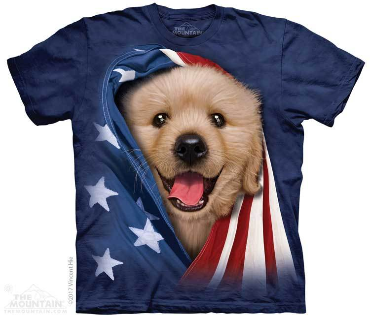 Patriotic Golden Pup Youth T-Shirt