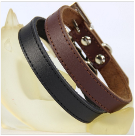 Brown Black Genuine Leather Dog collar with Alloy buckle
