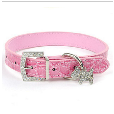 Beautiful  Rhinestone Pendant Croc Grain Leather Dog Cat Collar