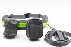 High Quality Design Hands Free Elastic Leash with  Padded Waist Belt with Reflective Saftey Strip and Water Bottle Cell Phone Treat Holders