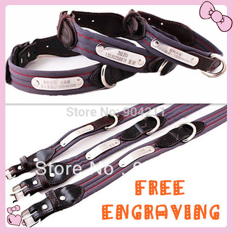 Free Engraving! 100% Real Leather+Nylon collar Dog Cat Collar