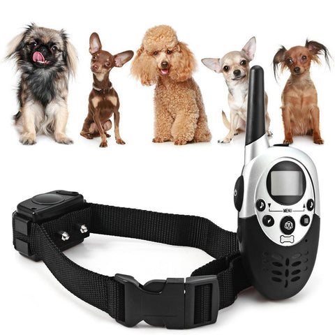 Dog Training Collar 1000M Waterproof Rechargeable LCD Remote Vibrating & Static Shock Collar