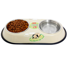 Big Double Stainless Steel Feeder Water Bowls for Dogs and Cats 2 Colors