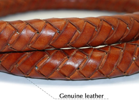 4ft Soft Braided Rolled  Rounded Genuine Brown Leather Dog Leash Lead