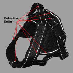 Black Padded Dog Harness Reflective Stitching With Integrated Retractable Leash For Medium to Large Breeds