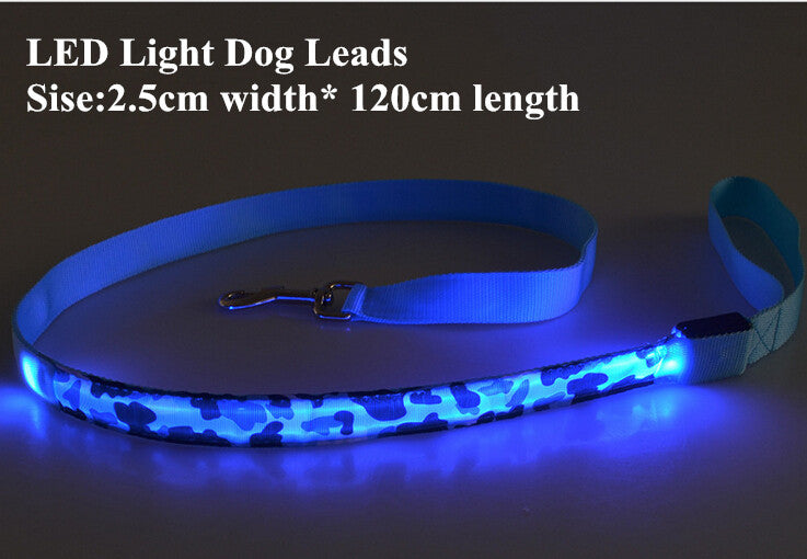 4 Mode Camo LED Light Pet Leash Leads