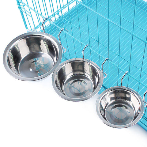 Hanging Stainless Steel Feeding or Water Bowl that Hangs on Cages for Pets