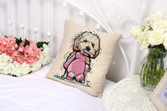 Pet Style Cartoon dog Printing Cushion Cover Customized Throw Pillow Case Home Decorative Cotton Linen Square Cojines