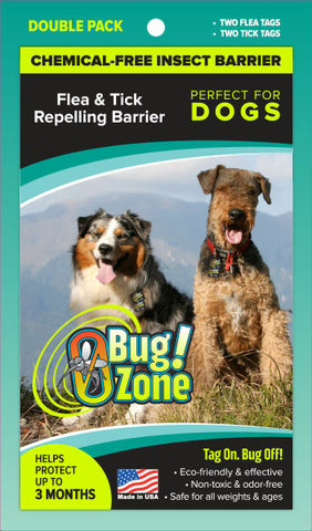 Chemical-Free Insect Barrier Flea/Tick Repelling Double Pak for Dogs - 4 Tags
