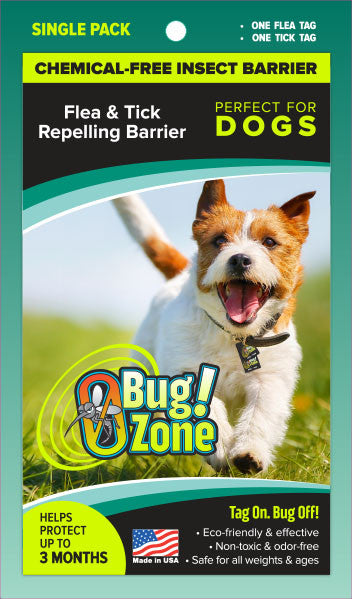 Chemical-Free Insect Barrier Flea/Tick Repelling Single Pak for Dogs - 2 Tags