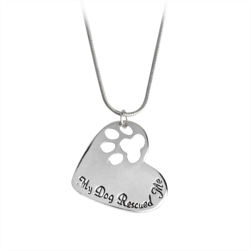 My Dog Rescued Me Pendant Necklace Jewelry
