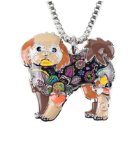 Dog Shih Tzu Jewelry Choker Enamel Necklace