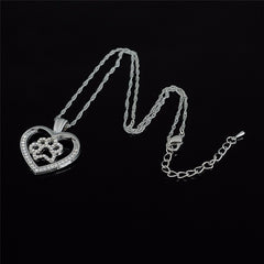 Paw Crystals Heart Necklace